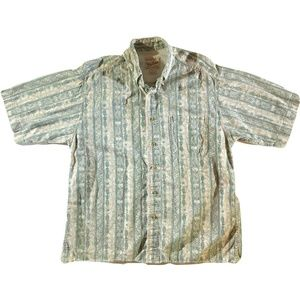 Woolrich Men's Large Casual Shirt Cotton Green